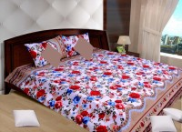 Creativezone Polycotton Floral King Sized Double Bedsheet (ONE BED SHEET WITH TWO PILLOW COVERS, White With Brown And Red Floral)