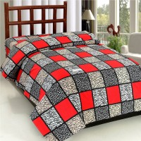 Bed & Bath Cotton Abstract, Floral, Printed Single Bedsheet 1 Single Bedsheet Only, Red, Black, Beige