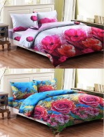 Bellamate Polycotton Floral Double Bedsheet 2 Bedsheet+4 Pillow Cover, Sky Blue