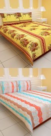 Daman Polyester Abstract Double Bedsheet