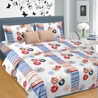 Cortina Satin Floral Double Bedsheet 1 Satin Double Bed Sheet, 2 Pillow Covers, Multicolour