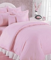 Feel Soft Satin Striped King Sized Double Bedsheet 1 Bedsheet 2 Pillow Covers, Pink