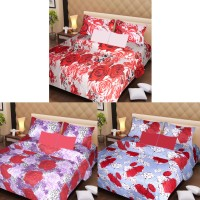 Ss Furnishings Cotton Floral Double Bedsheet Set Of 3 100% Cotton Double Bedsheet With 6 Pillow Cover, Multicolor