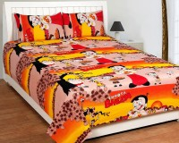 Bed & Bath Cotton Cartoon, Printed Queen Sized Double Bedsheet (1 Bedsheet, 2 Pillow Covers, Red,Orange,Yellow,Peach)
