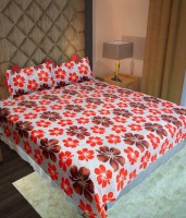 Homefab India Cotton Floral Double Bedsheet (1 Bedsheet, 2 Pillow Covers)