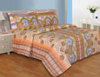 Salona Bichona Cotton Floral Double Bedsheet (1 Bedsheet, 2 Pillow Covers)