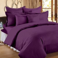 Ahmedabad Cotton Cotton, Satin Striped King Sized Double Bedsheet 1 King Size Bedsheet, 2 Pillow Covers, Purple