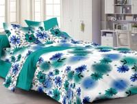 Cenizas Cotton Floral Double Bedsheet (1 Double Bedsheet, 2 Pillow Covers, Blue)