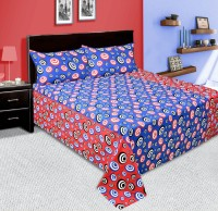 RK Cotton Floral Double Bedsheet 1 Double Bed Bedsheet, 2 Pillow Cover, Blue