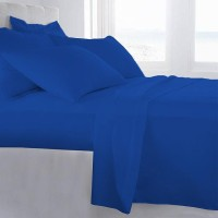 LNT Cotton Solid Large Bedsheet (1 Flat Sheet Ll 4 Pillow Covers, Egyption Blue)