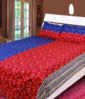 RK Cotton Geometric Double Bedsheet 1 Double Bed Bedsheet, 2 Pillow Cover, Blue, Red
