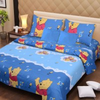 The Home Trendz Cotton Printed Double Bedsheet 1 Double Bed Bedsheet, 2 Pillow Covers, Blue