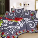 Aapno Rajasthan Pure Cotton Grey Color Double - Set With Floral Print Reactive Procean Flat Double Bedsheet