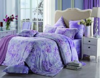 Raymond Rayon Abstract Double Bedsheet 1 Bedsheet, 2 Pillow Cover, Purple