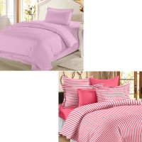 Story @ Home Cotton Plain Single Bedsheet Set Of 2 Single Bedsheet, 2 Pillow Cover, Multicolor