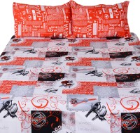 Story@Home Cotton Abstract Double King Bedsheet 1 Double Bedsheet With 2 Pillow Cover, Red