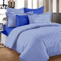 Ahmedabad Cotton Cotton Striped Double Bedsheet (1 Double Bedsheet, 2 Pillow Covers, Blue)