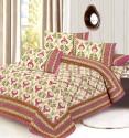 Aapno Rajasthan Pure Cotton Set Mugal Print, Gold Print Flat Double Bedsheet