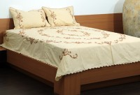 Unique Crafts Cotton Embroidered Double Bedsheet 1 Bedsheet, 2 Pillow Cover, Beige