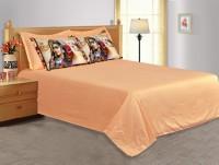 Salona Bichona Cotton, Satin Solid King Bedsheet (1 King Size Bedsheet, 4 Pillow Covers)
