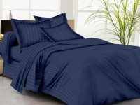 Trance Cotton Striped Queen Sized Double Bedsheet 1 Fitted Bedsheet, 2 Pillow Covers, Navy Blue