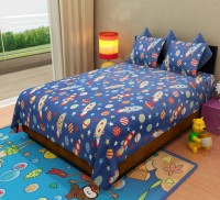 Home Candy Cotton Printed Double Bedsheet 1 Bed Sheet, 2 Pillow Covers, Blue