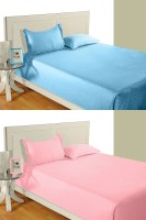 Idrape Cotton Striped Double Bedsheet 2 Double Bed Sheet, 4 Pillow Covers (Combo Offer ), Light Blue, Pink