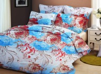 Bellamate Polycotton Floral Double Bedsheet 1 Bedsheet + 2 Pillow Cover, Sky Blue