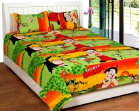 Bed & Bath Cotton Cartoon, Printed Queen Sized Double Bedsheet (1 Bedsheet, 2 Pillow Covers, Red,Yellow,Green,Orange)
