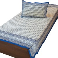 Desert Eshop Cotton Embroidered Single Bedsheet 1 Single Bed Sheet, 1 Pillow Cover, Off-White And Blue