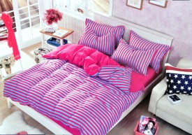 Hashcart Cotton Striped Double Bedsheet