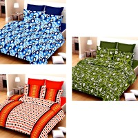 Vastra Buzz Cotton Striped, Abstract, Printed King Sized Double Bedsheet (3 Bedsheets & 6 Pillow Covers, Orange, Dark Green, Classy Blue)