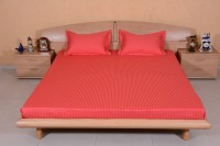 Ctm Textile Mills Satin Striped King Sized Double Bedsheet 1 Bedsheets, 2 Pillow Covers, Pinkish Orange