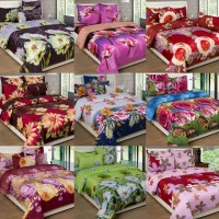 Omne Cotton 3D Printed Double Bedsheet 9 Bed Sheet With 18 Pillow Covers, Multi