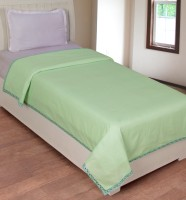 BSB Trendz Cotton Plain Single Bedsheet 1 Top Sheet, Green