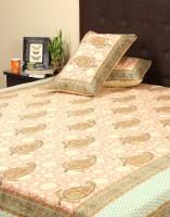 Rajrang Cotton Floral Double Bedsheet (1 Bed Sheet, 2 Pillow Cover, Pink, Green)