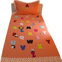 Aiva Little Pipal Alphabet Zoo Orange Kids Flat Single Bedsheet