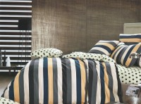Shivalik Furnishing Cotton Striped, Graphic, Printed Double Bedsheet 1 Bedsheet, 2pillow Covers, Beige, Grey, Black