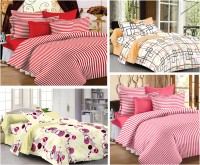 Story @ Home Cotton Printed Single Bedsheet Set Of 4 Single Bedsheet With 4 Pillow Cover, Multicolour