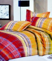 Ruhi Home Furnishing Cotton Abstract Double Bedsheet 1 Double Bedsheet, 2 Pillow Covers, Multicolor