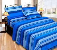 JBG Home Store Cotton Striped Double Bedsheet 1 Bedsheet, 2 Pillow Covers, Blue