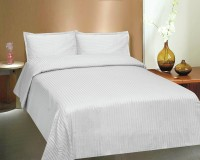 Ctm Textile Mills Satin Striped King Sized Double Bedsheet 1 Bedsheets, 2 Pillow Covers, White