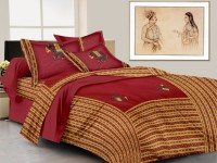 Laliprints Cotton Embroidered King Sized Double Bedsheet 1 Bed Sheet, 2 Pillow Covers, Maroon