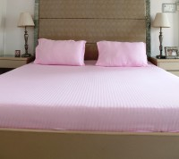 The Cotton Company Cotton Striped King Bedsheet 1 Bedsheet, 2 Pillow Covers, Rose Pink