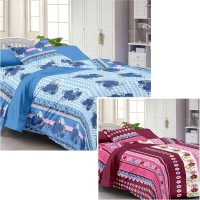 Story @ Home Cotton Plain Single Bedsheet Set Of 2 Single Bedsheet With 2 Pillow Cover, Multicolor
