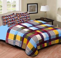 Home Originals Polycotton Checkered Double Bedsheet 1 Double Bedsheet, 2 Pillow Covers, Multicolor