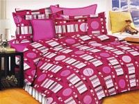 Lali Prints Cotton Geometric King Sized Double Bedsheet 1 Double Super King Size Bedsheet, 2 Pillow Covers, Red
