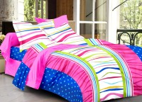 Ahmedabad Cotton Cotton Abstract Double Bedsheet (1 Double Bedsheet, 2 Pillow Covers, Blue, Pink)