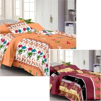Story @ Home Cotton Plain Single Bedsheet Set Of 2 Single Bedsheet, 2 Pillow Cover, Multicolour