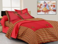Lali Prints Cotton Embroidered King Sized Double Bedsheet 1 Bedsheet, 2 Pillow Covers, Red
